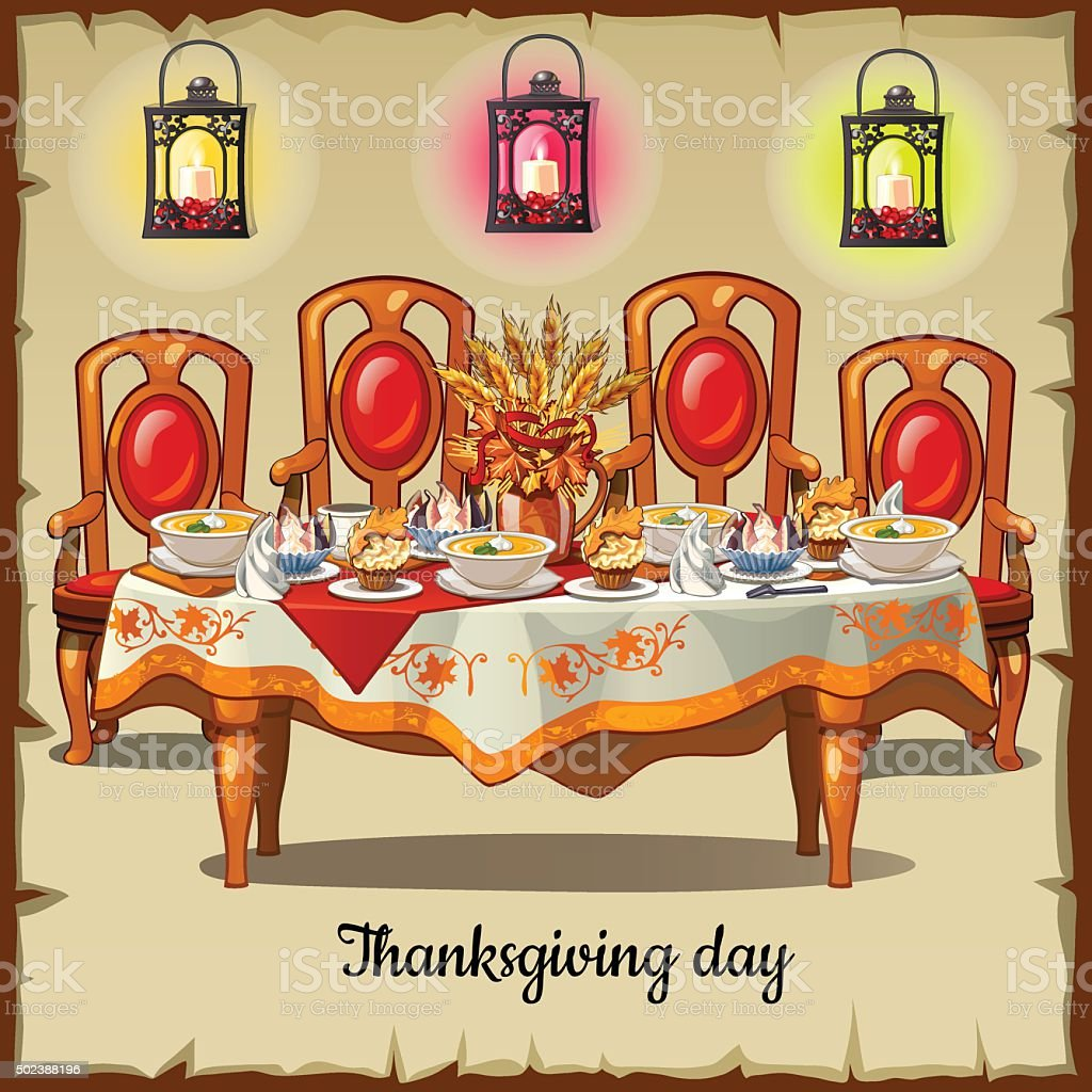 Ceremonial table with classic cheir and food vector art illustration