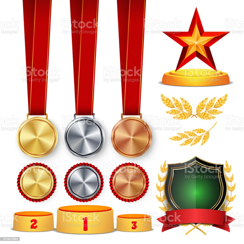 Ceremony Winner Honor Prize. Trophy Awards Cups, Golden Laurel Wreath With Red Ribbon And Gold Shield, Medals Template, Sports Placement Podium. 1st, 2nd, 3rd Place. Isolated. Vector Illustration vector art illustration