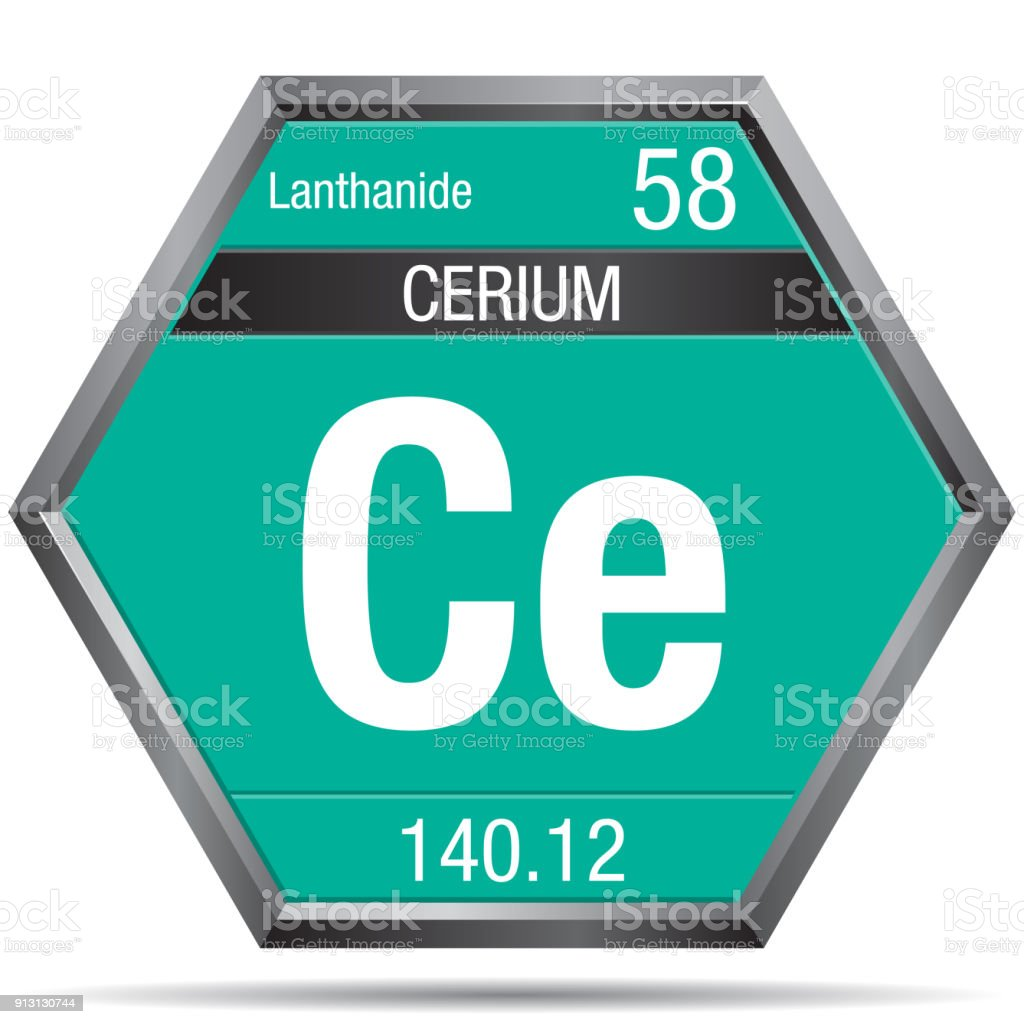 Cerium symbol in the form of a hexagon with a metallic frame element cerium symbol in the form of a hexagon with a metallic frame element number 58 urtaz Image collections