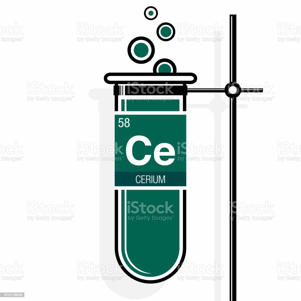Cerium symbol on label in a green test tube with holder element cerium symbol on label in a green test tube with holder element number 58 of urtaz Images
