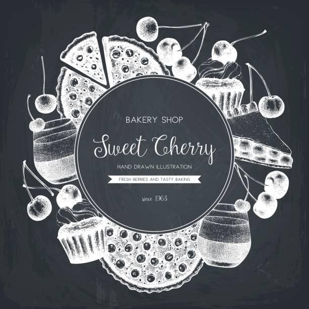 cerry dessert menü-design - pflaumenkuchen stock-grafiken, -clipart, -cartoons und -symbole