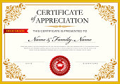 Vector Illustration with a beautiful template of an Certificate Achievement Diploma in Golden colour theme