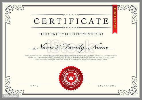 Vector Illustration of an elegant Certificate Template Diploma