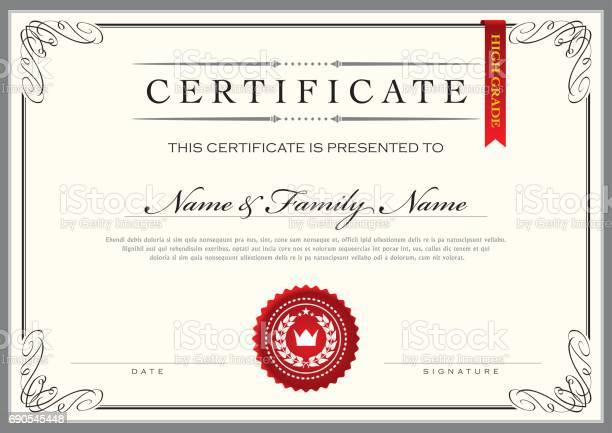 Certificate Achievement Diploma Stock Illustration - Download Image Now