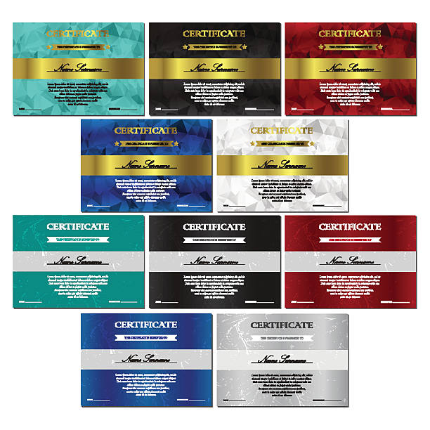 Certificate and diploma templates set Vertical red, white, black, turquoise and blue certificate and diploma templates set with vintage, floral pattern and polygonal pattern for winner for achievement. Blank of award coupon. Vector debenture stock illustrations