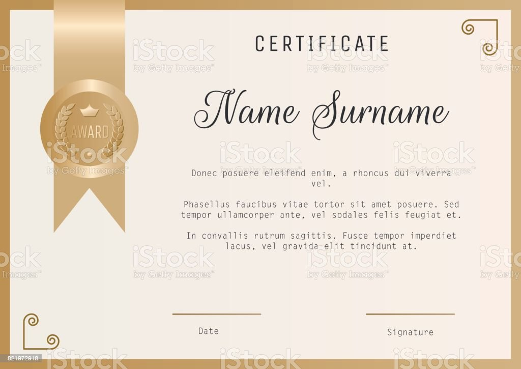 Certificate Award Template Vector Blank In Gold Colors Stock Vector