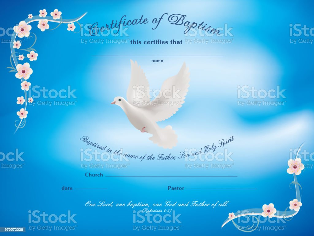 certificate baptism template with dove and and flowery frame on blue