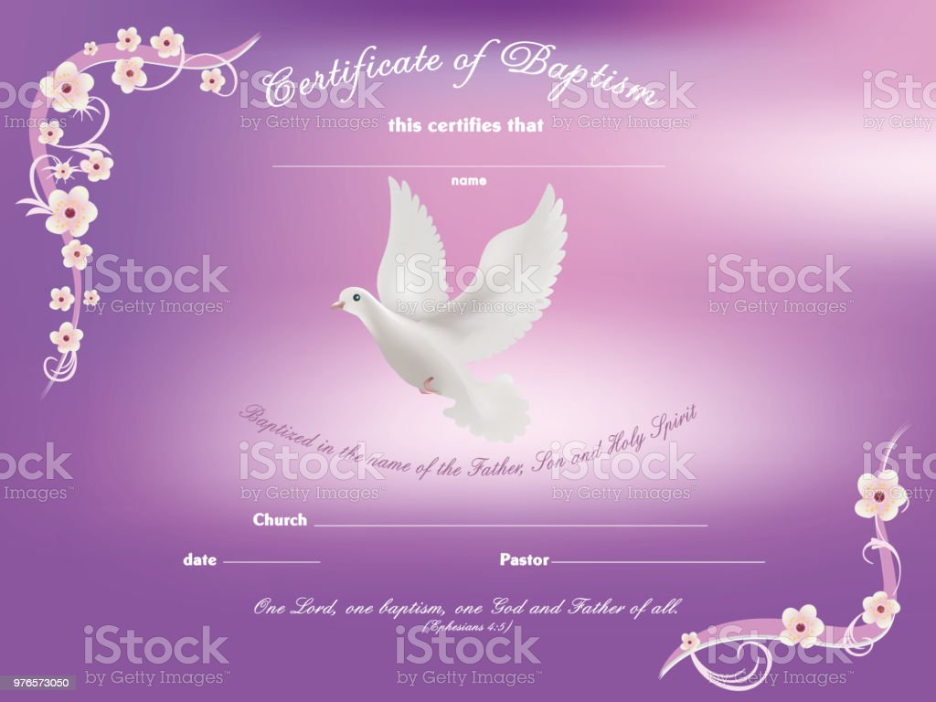 Certificate Baptism Template With Dove And And Flowery Frame On Pink ...