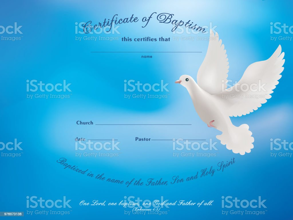 certificate baptism template with dove on blue background royalty free certificate baptism template with dove