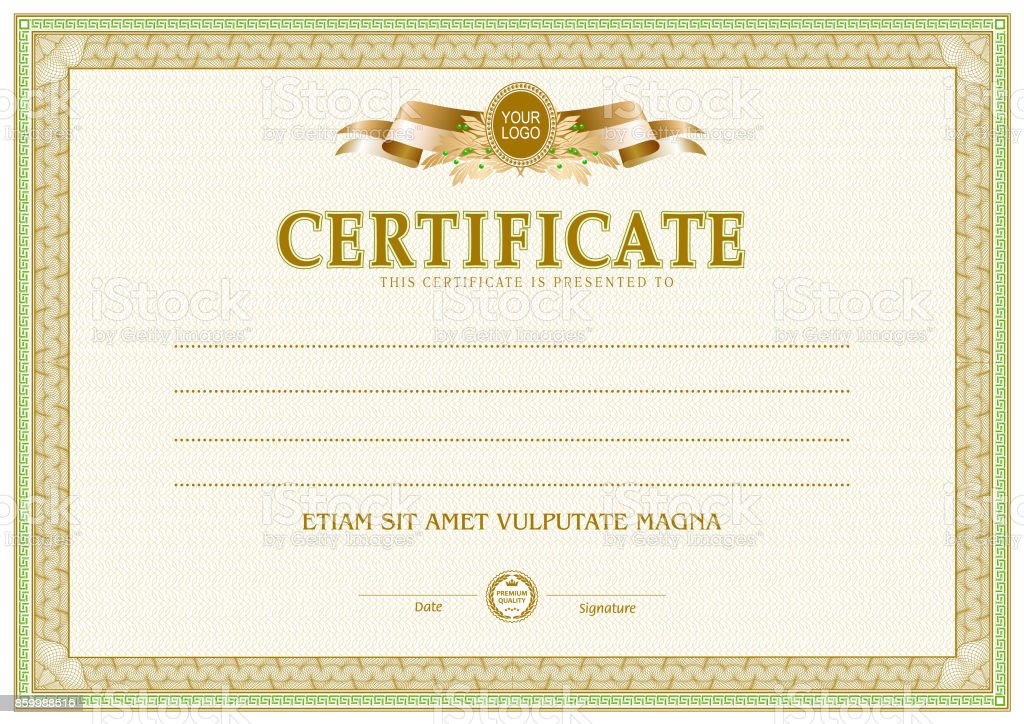 Certificate Blank Template Stock Vector Art More Images Of