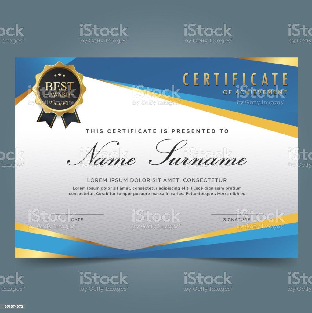 Blaue Vorlage Zertifikat Stock Vektor Art und mehr Bilder von ...