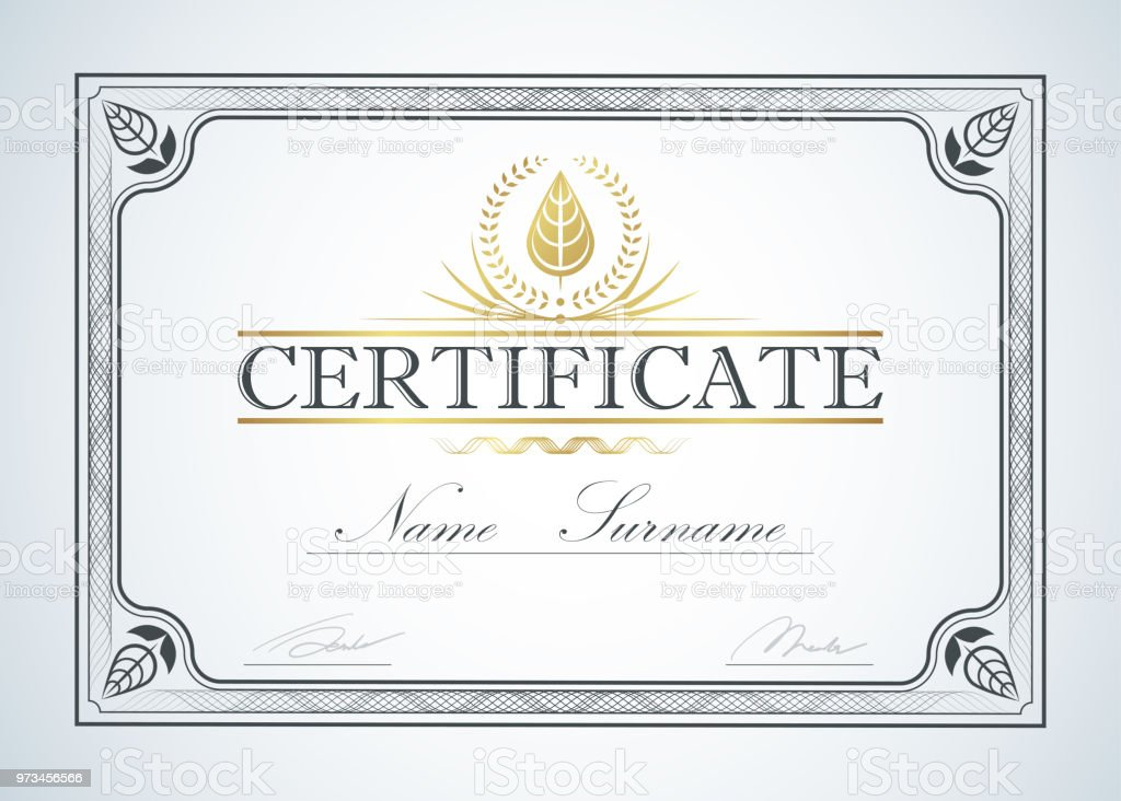Certificate Border Frame Template Guide Design Retro Vintage Luxury