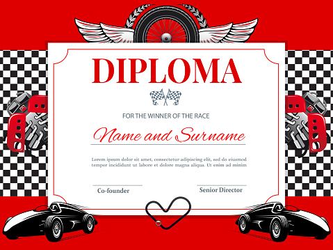 Certificate, car races and speed winner diploma