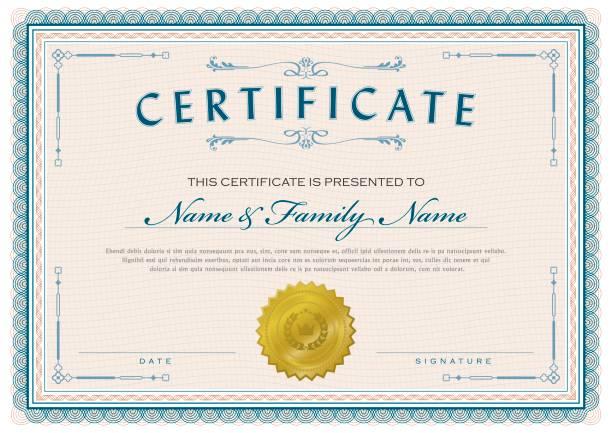 bildbanksillustrationer, clip art samt tecknat material och ikoner med certifikat klassiska diplom - diploma