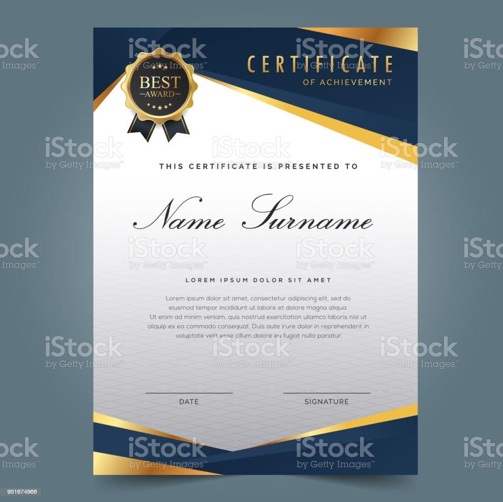 Dunkel Blau Zertifikatvorlage Stock Vektor Art und mehr Bilder von ...