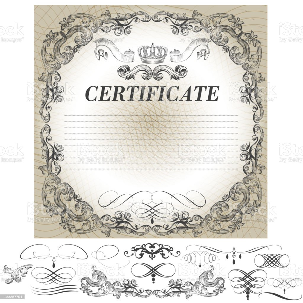 Certificate design with calligraphic elements in vintage style royalty-free stock vector art