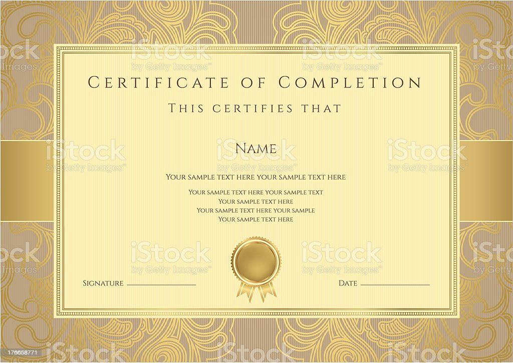 Certificate / Diploma (template). Award background design. Gold floral pattern, frame royalty-free stock vector art