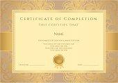 Certificate / Diploma (template). Award background design. Gold floral pattern, frame