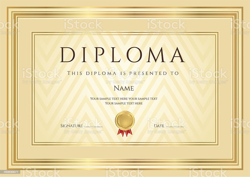 Certificate Diploma Coupon Stock Vector Art & More Images of ...