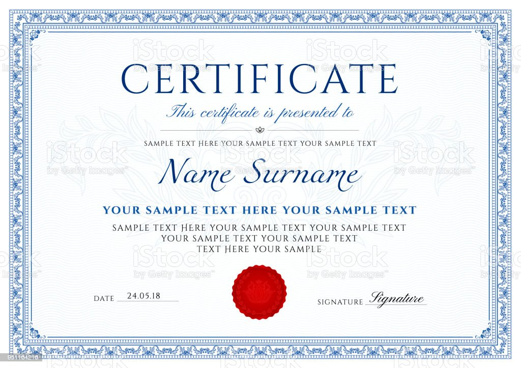 Certificate, Diploma of completion (design template, white background) with blue Frame, Border,