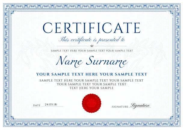 illustrazioni stock, clip art, cartoni animati e icone di tendenza di certificate, diploma of completion (design template, white background) with blue frame, border, - attestato