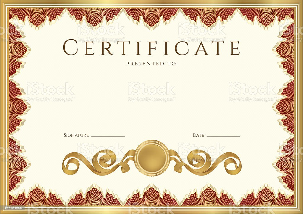 Certificate diploma of completion with gold red borders guilloche certificate diploma of completion template with gold red borders guilloche royalty yadclub Image collections
