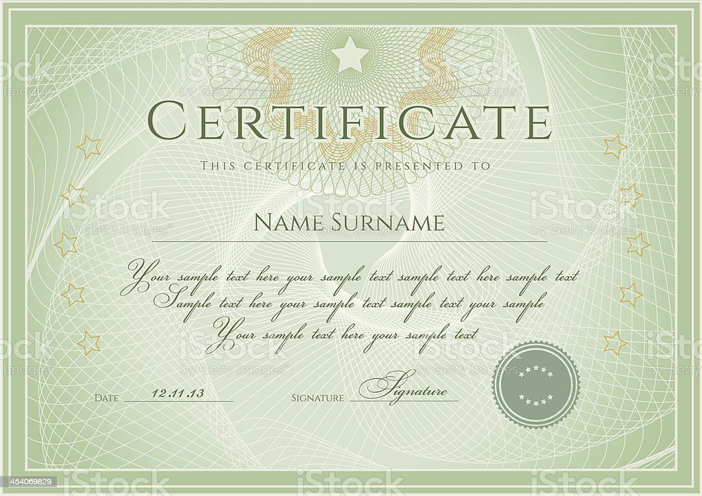 certificate diploma template award background design with guilloche