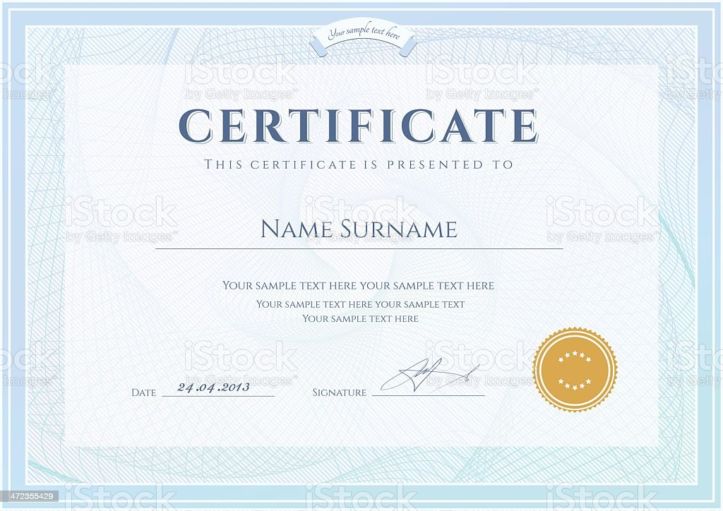 certificate diploma template award coupon background design with guilloche pattern royalty - Template For Award Certificate