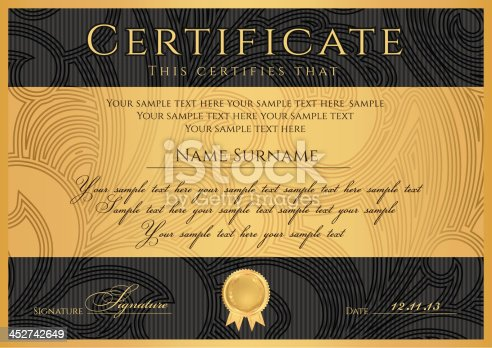 Certificate Diploma Template Black Award Background Design ...
