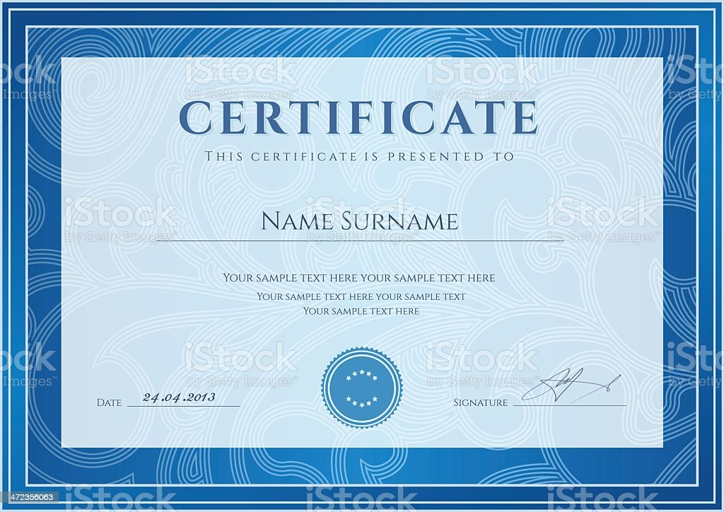 Certificate diploma template blue award background design with certificate diploma template blue award background design with floral pattern royalty free certificate yadclub Choice Image