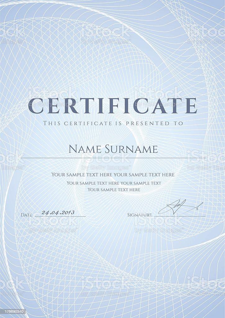 Zeugnis/Diplom-Vorlage. Blauer Hintergrund mit guilloche-Muster Lizenzfreies zeugnisdiplomvorlage blauer hintergrund mit guillochemuster stock vektor art und mehr bilder von auszeichnung