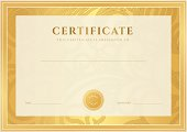 Certificate, Diploma of completion (template, background). Gold floral (scroll, swirl) pattern (watermark), border, frame. Certificate of Achievement, Certificate of education, awards, winner. Vector