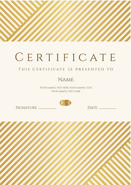 Certificate / Diploma template (coupon). Gold award background (stripy, lines pattern) Similar Files: formalwear stock illustrations