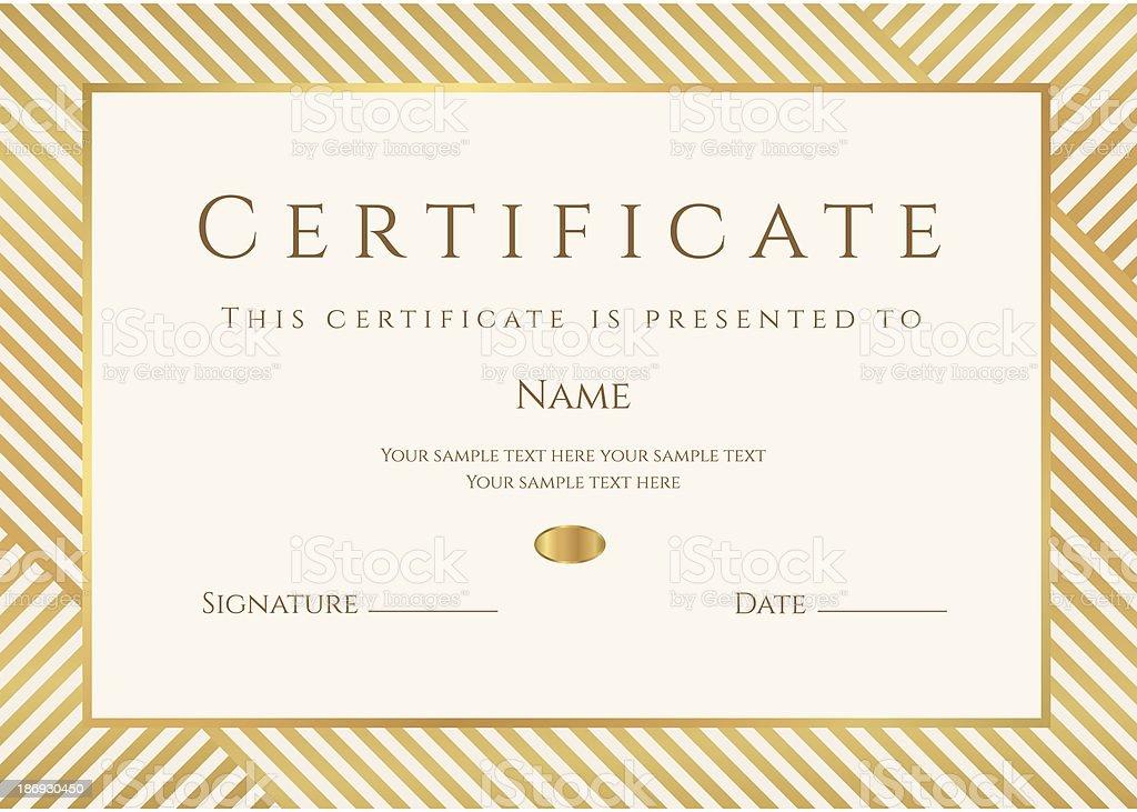 Plantilla de certificado o Diploma. Premio fondo de oro (stripy, líneas patrón, bastidor) - ilustración de arte vectorial
