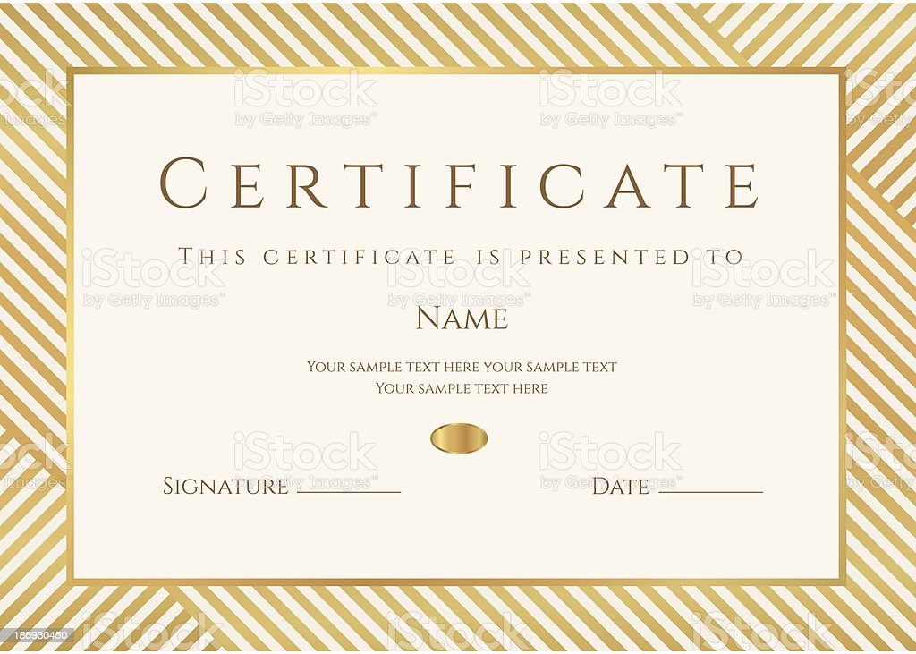 Certificate / Diploma template. Gold award background (stripy, lines pattern, frame) vector art illustration
