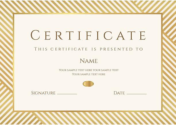 ilustraciones, imágenes clip art, dibujos animados e iconos de stock de plantilla de certificado o diploma. premio fondo de oro (stripy, líneas patrón, bastidor) - marcos de certificados y premios