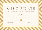 Certificate / Diploma template. Gold award background (stripy, lines pattern, frame)