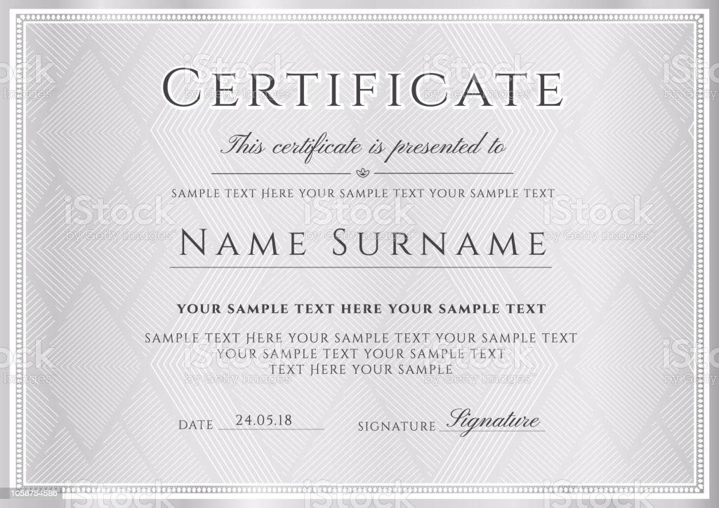 Certificate Diploma Template With Silver Triangle Pattern Stock Illustration Download Image Now Istock