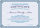 Vector Illustration of an elegant Certificate Template Diploma with design elements: labels, borders, frames, Calligraphic elements, Scroll shapes, etc.
