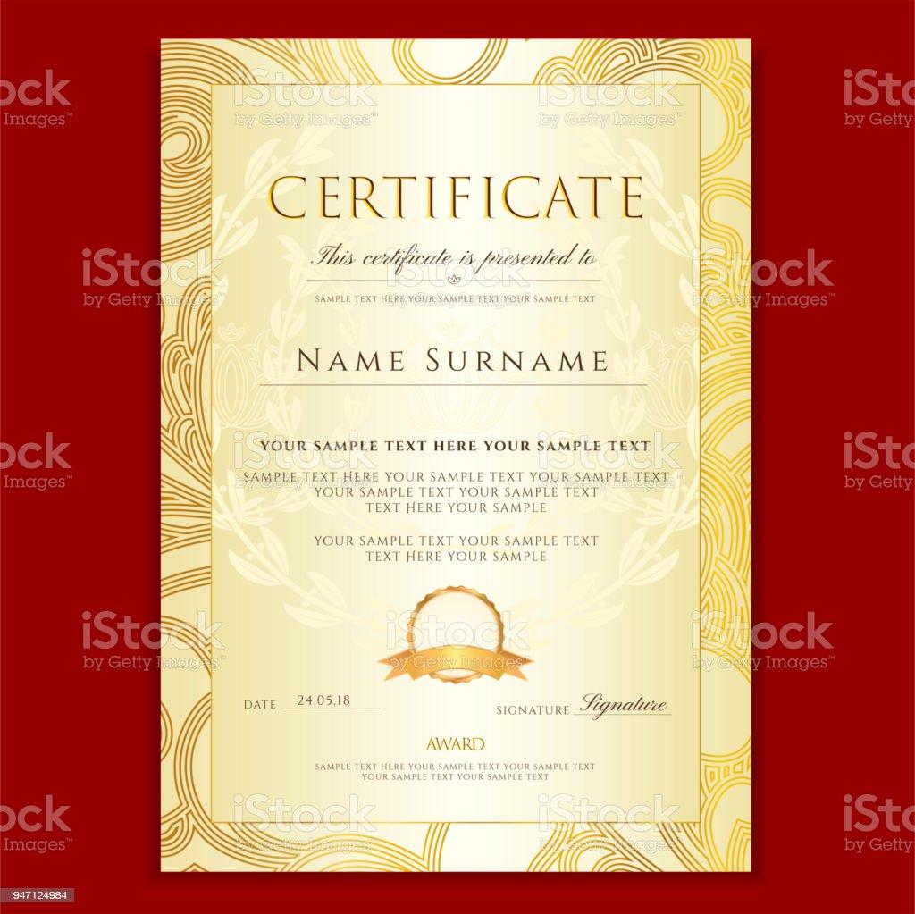 Zertifikat Diplom Mit Filigranen Blumenmuster Scroll Grenze ...