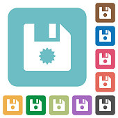 Certificate file rounded square flat icons