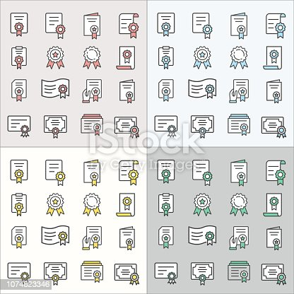 Certificate flat line icons. Thin signs for for mobile and web applications.