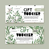 A modern set of a gift voucher for a holiday in an eco-style. The certificate for a gift with plants. The flyer for the store of natural cosmetics or clothing.