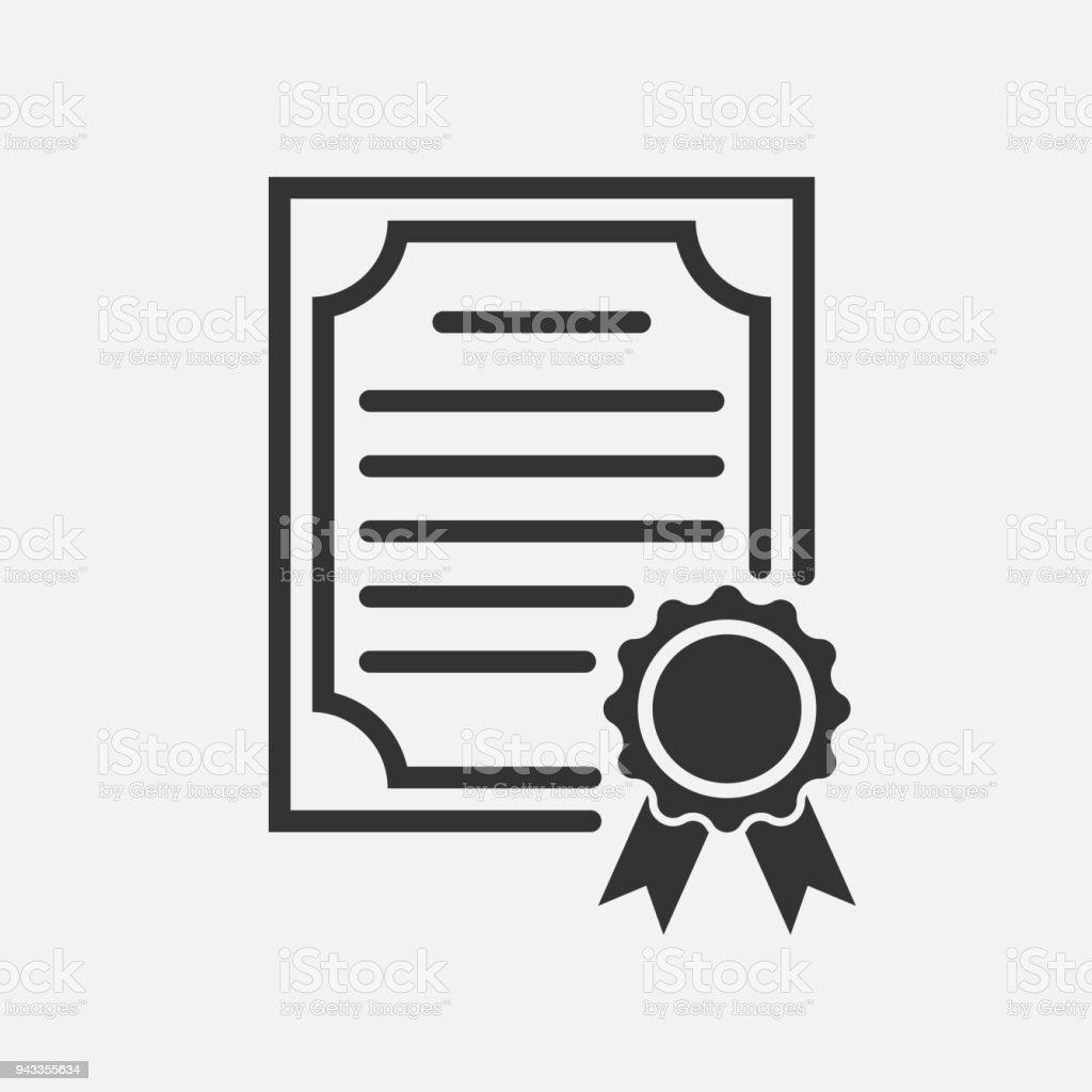Certificate icon. Degree Icon. Vector illustration.