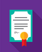Vector illustration of a certificate against a purple background in flat style.