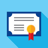 Vector illustration of a certificate against a blue background in flat style.