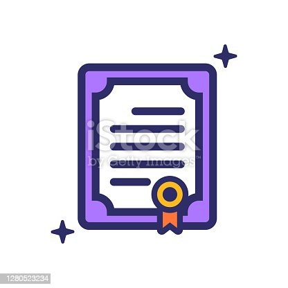 istock Certificate icon vector illustration for logo, web,landing page, stickers and background 1280523234