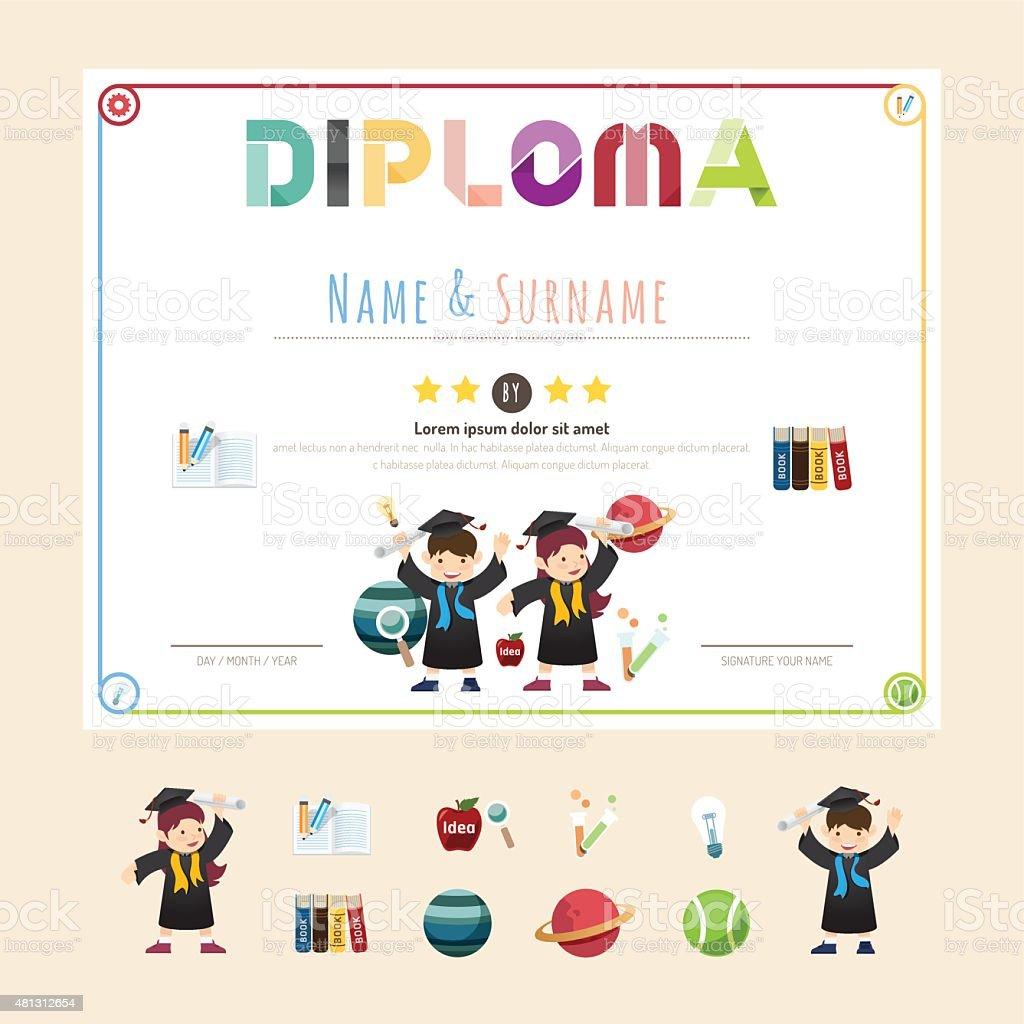 Ilustración de Certificado Niños Diploma Jardines De Infancia ...