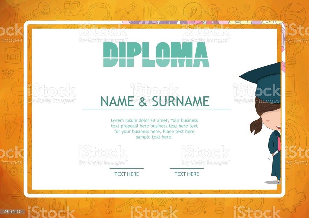 Ilustración de Certificado Niños Diploma Kinder Plantilla Diseño ...