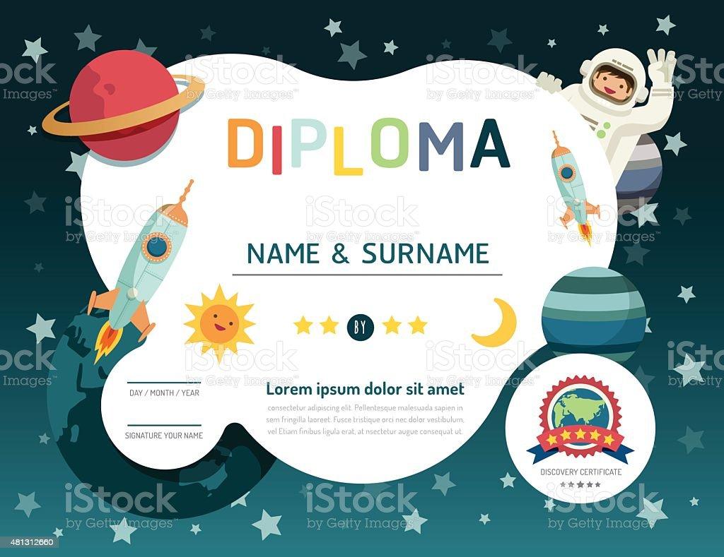 Certificate kids diploma, kindergarten template layout space bac vector art illustration
